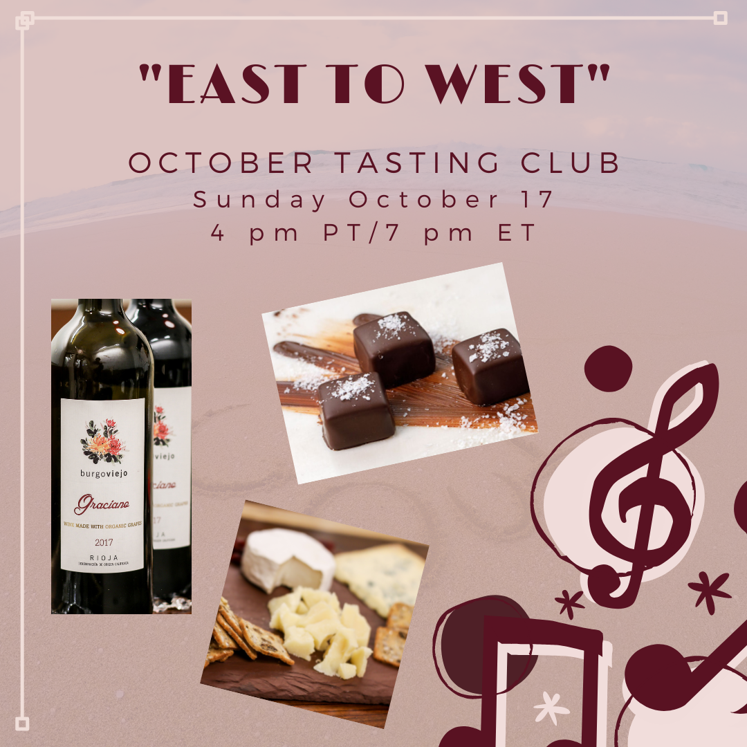 """""""East to West"""" October 2021 Music & Wine Tasting Club event"""